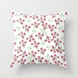 Watercolor roses on white backgroung Throw Pillow