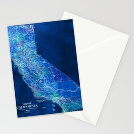 California, blue old vintage map, original art for office decor Stationery Cards
