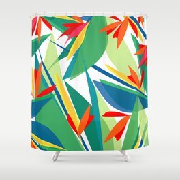 Tropical floral composition, exotic flowers, birds of paradise. Shower Curtain