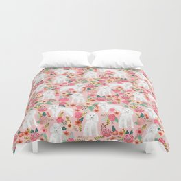 Toy Poodle pattern print by pet friendly pink florals dog with flower pattern cute toy poodles Duvet Cover