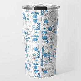 Blue White Geometric Shapes Travel Mug
