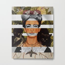 "Frida Kahlo ""Self Portrait with Thorn Necklace and Hummingbird"" & Joan Crawford Metal Print"