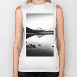 Fantastic Morning - Mount Hood Reflection Black and White Biker Tank