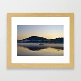 Fishing in the Morning Mist Framed Art Print