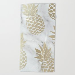 Tropical Pineapple, Marble and Gold Abstract Pattern Beach Towel