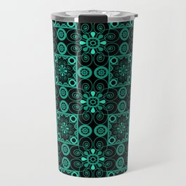 Turquoise and black pattern . Travel Mug