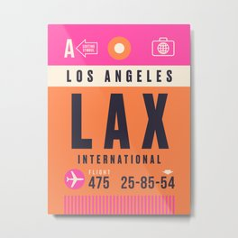Luggage Tag A - LAX Los Angeles Metal Print