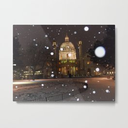 Vienna in Snow by Shimon Drory Metal Print