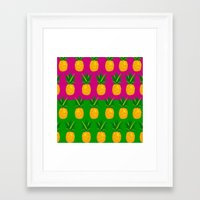 pineapples Framed Art Prints featuring Pineapples by The Wallpaper Files