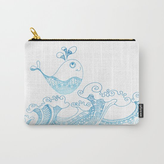 Doodle fish jumping out of the water- Maritime Sea Animal Carry-All Pouch