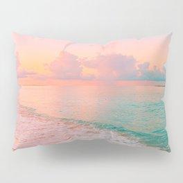 Beautiful: Aqua, Turquoise, Pink, Sunset Relaxing, Peaceful, Coastal Seashore Pillow Sham