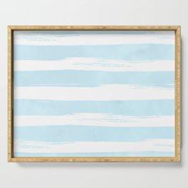 Pastel Blue Stripes Serving Tray