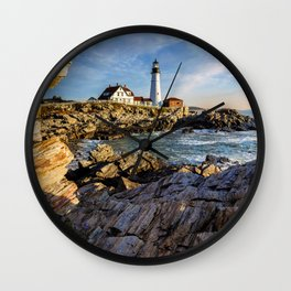 Cape Elizabeth Lighthouse New England Wall Clock