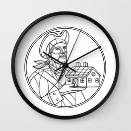 American Patriot House Mosaic Black and White Wall Clock