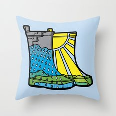 Rainy Day Boots Throw Pillow