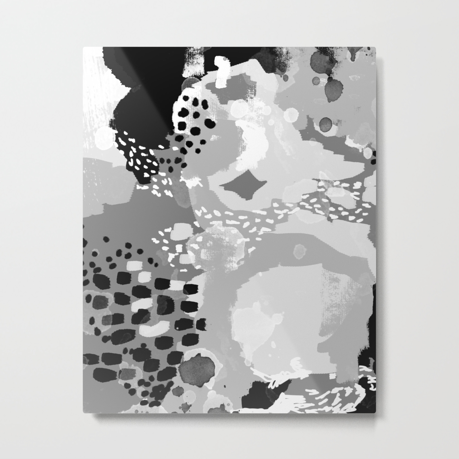 Rion modern minimal black and white abstract painting brooklyn nyc home decor canvas abstract art metal print