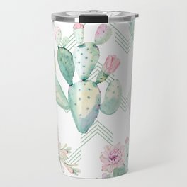 Cactus Rose Deconstructed Chevron Travel Mug