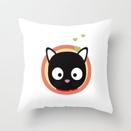 Black Cute Cat With Hearts Throw Pillow