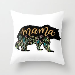 Mama Bear with Pretty Wildflowers Hand Lettering Illustration Throw Pillow