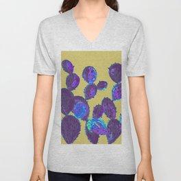 Cactus garden lilac mustard Unisex V-Neck
