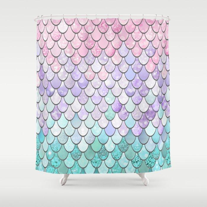 Mermaid Pastel Pink Purple Aqua Teal Shower Curtain By Meganmorrisart
