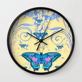 ORNATE BLUE BUTTERFLIES SCROLL DESIGNS  ART Wall Clock