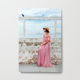 Woman in pink Metal Print