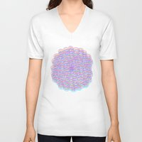 techno V-neck T-shirts featuring Techno Flower by HayleyM