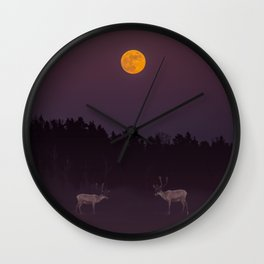 Full Moon - Winter Night With Reindeer At Edge Of Forest #decor #buyart #society6 Wall Clock