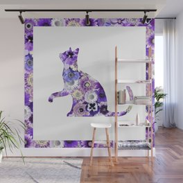 The Flowers Cat Wall Mural