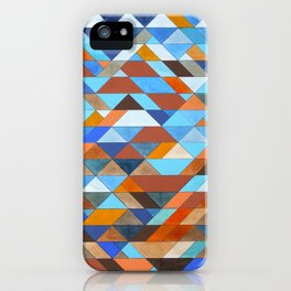 Triangle Pattern no.18 blue and orange iPhone Case