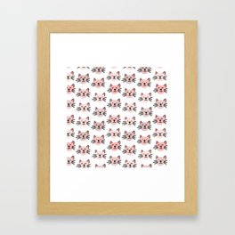 Cute cat pattern Framed Art Print