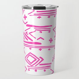 Pink watercolor abstract geometrical aztec tribal pattern Travel Mug