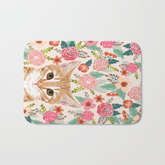Tabby Cat florals cute spring garden kitten orange tabby cat lady funny girly cat art pet gifts  Bath Mat