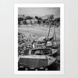 Boats at the Sea - Black and White Art Print