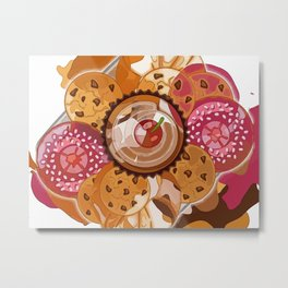 Creme Caramel, Schoko, Raspberry glaze Abstract Bon Appétit Metal Print