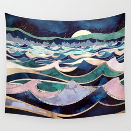 Moonlit Ocean Wall Tapestry
