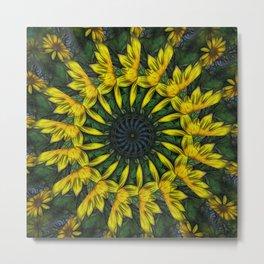 Large Yellow Wildflower Kaleidoscope Art 12 Metal Print