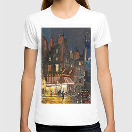 Paris, Cafes in Rue Lepic, Montmartre night landscape painting by Konstantin Korovin  T-shirt