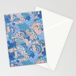 Floral pattern in cold tones Stationery Cards