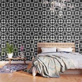 Black & White Tile Pattern Wallpaper