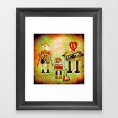 The family robots go to the school Framed Art Print