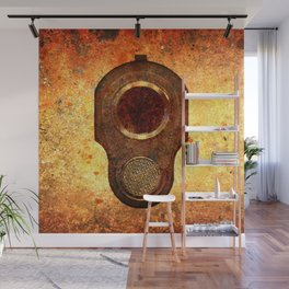 M1911 Colt Pistol Muzzle On Rusted Background Wall Mural