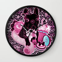 frenchie Wall Clocks featuring Frenchie by Miss Cherry Martini
