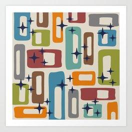 Retro Mid Century Modern Abstract Pattern 224 Art Print