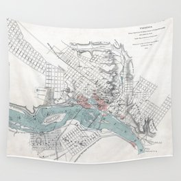 Vintage Map of Richmond Virginia (1864) Wall Tapestry