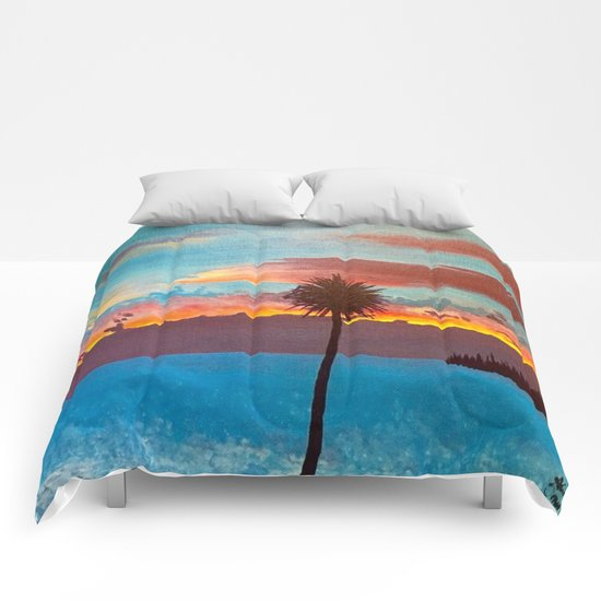 The Beautiful Key West Sun is captured in this ocean sunset painting Comforters