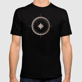 Rosegold Compass on Black II T-shirt