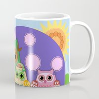 bebop Mugs featuring Owls, Flowers Fantasy design by thea walstra