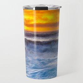 Waves Pound the Beach at Sunset Travel Mug